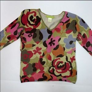 Abstract flower multi color sweater Sz P